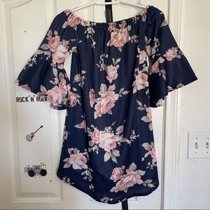 Off the Shoulder Blue Floral Summer Dress Size S